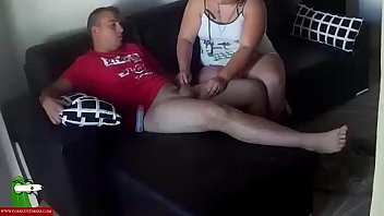 Couple, Fat cock, Cock massage, Sucking tits, Lubricant, Massage cum