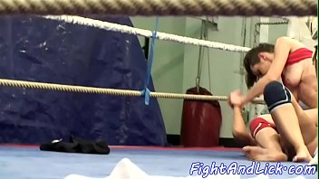 Lesbian, Wrestling, Catfight, Box, Ring, Boxing