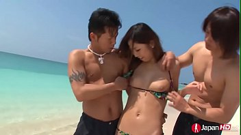 Threesome, Japanese public, Japanese threesome, Hairy creampie, Japanese beach, Asian public