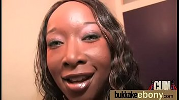 Gangbang, Cum covered, Ebony bukkake