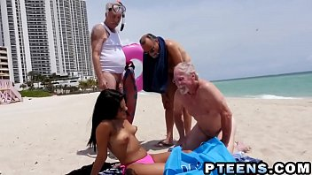 Old and young, Teen and old, Old beach, Beach fuck, Tit piercing, Piercing pussy