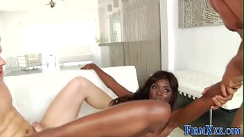 Threesome, Ebony dp, Threesome anal, Dped, Ebony swallow, Anal swallow