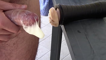 Sperm, Fleshlight, Jerking off, Huge creampie, Condom off, Public jerk