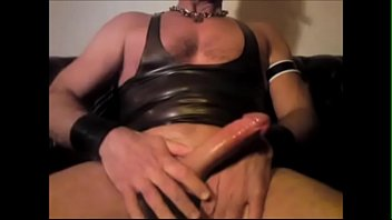 Leather, Rubber, Chain, Chained, Jerking off, Gay cock